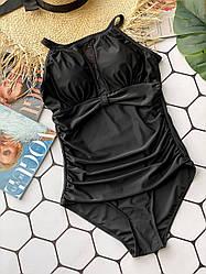 Слитный купальник в черном цвете с открытой спинкой Black