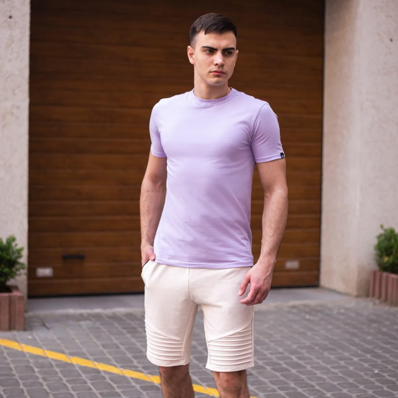 """🔥  Мужская футболка Pobedov """"Peremoga"""" светло-лиловая летняя легкая на каждый день"""