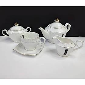 Чайный сервиз фарфоровый 15 предметов Снежная королева Interos PT0116-A