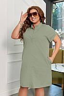 Жіноче лляне плаття з коротким рукавом, фото 1