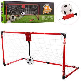 Футбольні ворота M 6022 сітка, м'яч, насос,шкала,зед.рахунок-звук,на бат-ке, в кор-ке, 58-24-10см