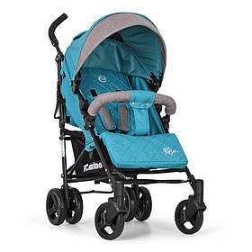 Коляска дитяча ME 1013L RUSH Turquoise прогулянкова,тростина,колеса4шт,подстак,чохол,льон,бірюза