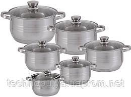 Набір посуду Edenberg з 12 предметів Сріблястий (EB-4037)