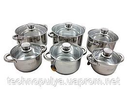 Набір посуду Edenberg з 12 предметів Сріблястий (EB-4036)