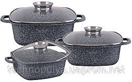 Набір посуду Edenberg з гранітним покриттям з 6 предметів Сірий (EB-8030)