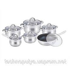 Набір посуду з нержавіючої сталі Benson BN-290 12 предметів Сталевий (500030)