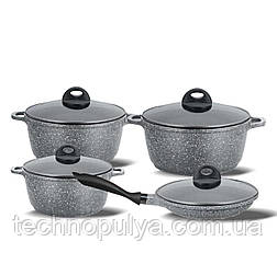 Набір посуду з мармуровим антипригарним покриттям Benson BN-325 8 предметів (500037)
