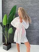 Рубашка - туника на купальник пляжная с карманами белая под пояс