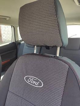 Чехлы на сиденья ГАЗ Газель (GAZ Gazelle) 1+2 (модельные, автоткань, отдельный подголовник, логотип)