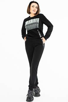 Чорний трикотажний костюм Штрих Код