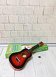Детская деревянная гитара M 1370, шестиструнная, 52 см, запасная струна, медиатор, 3 цвета, фото 2