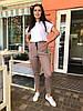 Стильні жіночі літні лляні батальні штани з кишенями і завищеною талією р. 48-54). Арт-4402/33