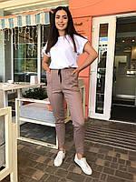 Стильные женские летние льняные батальные брюки с карманами и завышеной талией (р.48-54). Арт-4402/33, фото 1