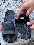 🔥 Чоловічі капці Puma чорні пляжні тапочки на літо, фото 5