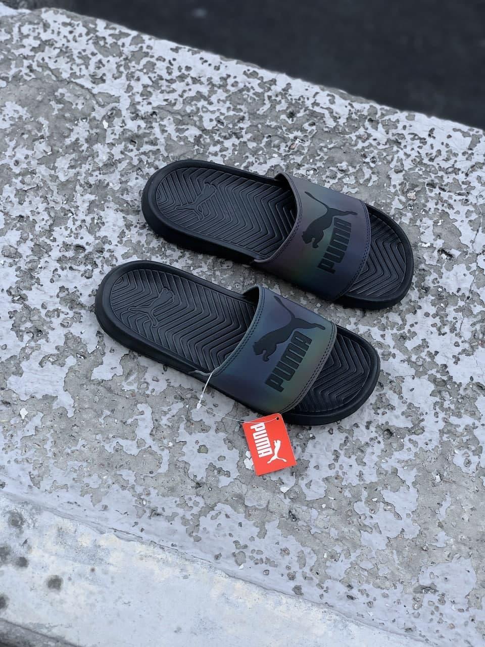 🔥 Чоловічі капці Puma чорні пляжні тапочки на літо