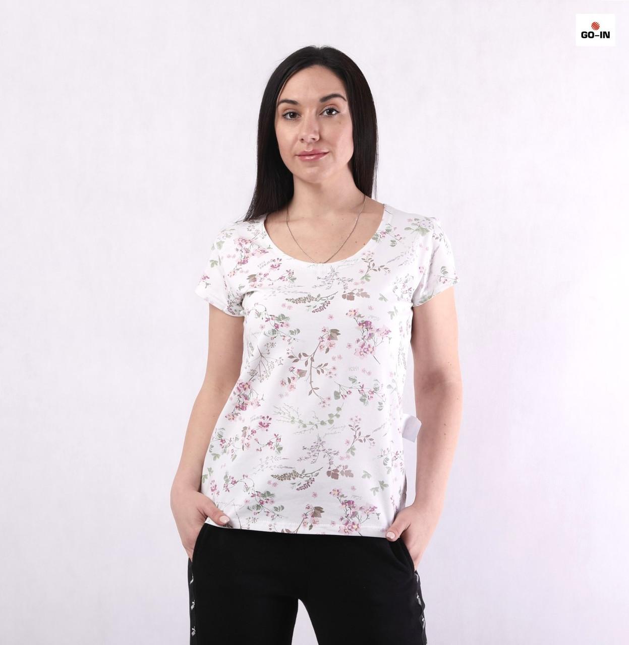 Футболка женская летняя с цветами прямая трикотажная белая 48-56р