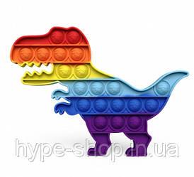 Сенсорна іграшка Pop It антистрес, динозавр райдужний