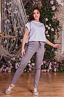 Стильные летние женские льняные брюки с завышеной талией  (р.42-54).  Арт-4402/33, фото 1
