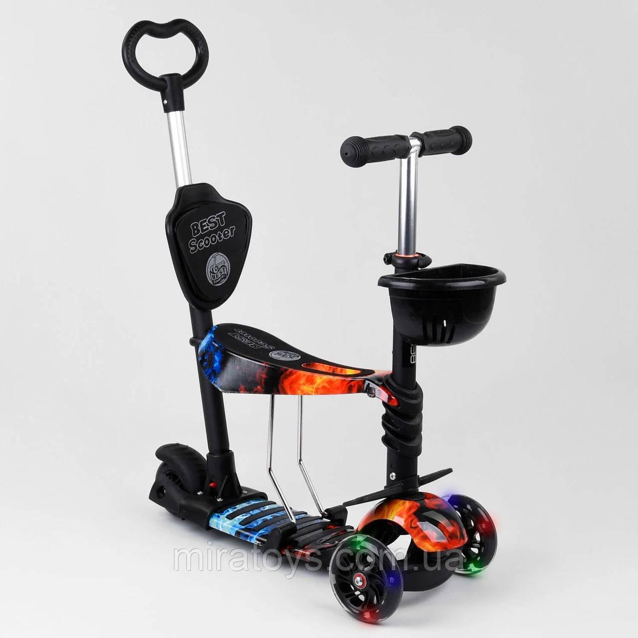 Самокат-беговел 5в1 Best Scooter 21700 с родительской ручкой и сиденьем, подсветка колес