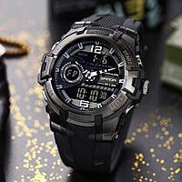 Армійські годинник мілітарі чоловічі протиударні чорні Sanda 6015 Оригінал