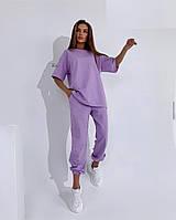 Женский спортивный костюм футболка и штаны на манжете, фото 1