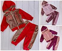 Велюровый детский костюм на молнии QVEEN для девочки 1-3 года,цвет микс в упаковке
