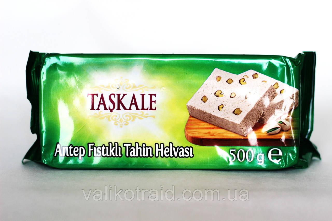 Тахиновая халва з цільним горіхом фісташки, Туреччина , вага 500 гр, турецькі солодощі