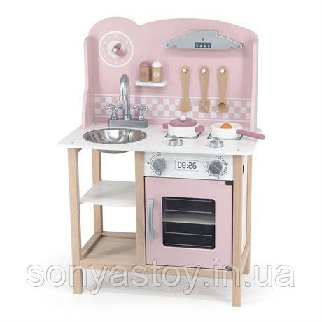 Дитяча кухня з дерева з посудом Viga Toys PolarB рожева/ блакитна, 1+