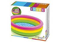 """Дитячий надувний круглий басейн Intex """"Веселка"""" 86х25 см різнобарвний з надувним дном для малюків 58924, фото 3"""