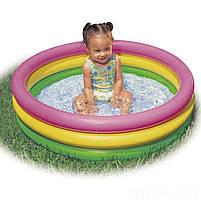 """Дитячий надувний круглий басейн Intex """"Веселка"""" 86х25 см різнобарвний з надувним дном для малюків 58924, фото 4"""