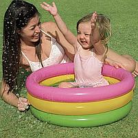 """Дитячий надувний круглий басейн Intex """"Веселка"""" 86х25 см різнобарвний з надувним дном для малюків 58924, фото 6"""