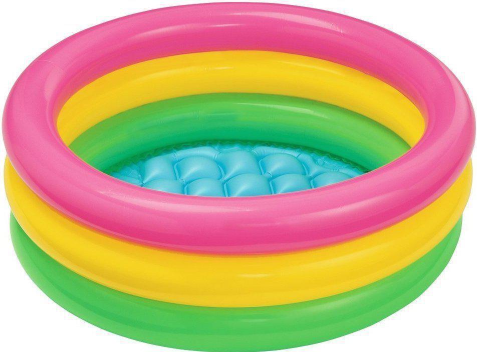 """Дитячий надувний круглий басейн Intex """"Веселка"""" 86х25 см різнобарвний з надувним дном для малюків 58924"""