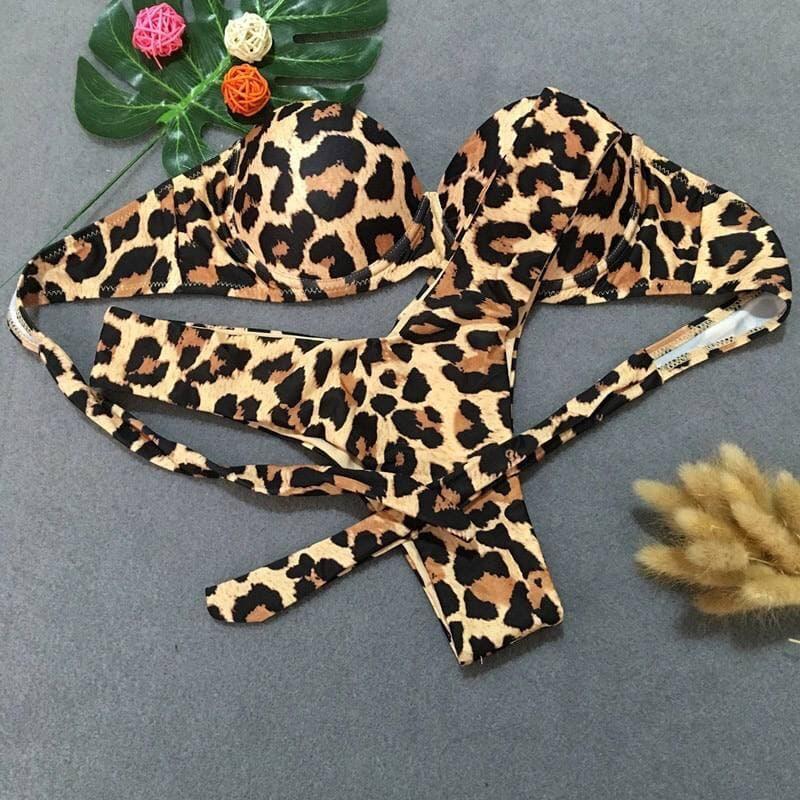 Раздельный леопардовый купальник бикини с топом бандо Leopard