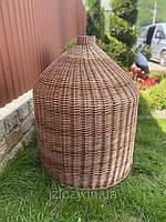 Плетёный абажур из круглой лозы под размер