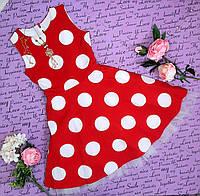 Платье юниор в горох р. 140-158 красное