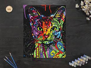"""Картина по номерам """"Разноцветная аббисинская кошка"""" 40х50 см"""