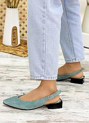 Туфлі, босоніжки м'ята замша Rose 7707-28