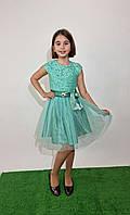 Платье юниор нарядное с фатином р. 140-152 бирюза
