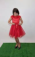 Платье юниор нарядное с фатином р. 140-152 красное