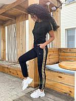 Женский Летний Трикотажный спортивный костюм с футболкой черный .LUXX MODEL LUXX КАЧЕСТВО Лето 2021