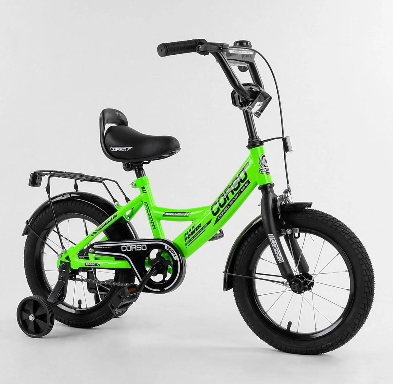 """Велосипед 14"""" дюймов 2-х колёсный """"CORSO"""" CL-14109 зеленый 01312"""
