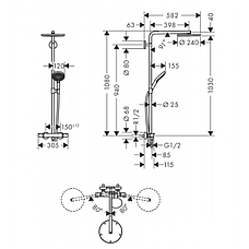 Душевая система Hansgrohe Raindance Select S 240 PowderRain 1jetP с термостатом, хром (27633000), фото 3