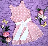 Платье подростковое в горошек р. 7-10 розовое