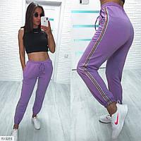 Джоггеры жіночі стильні спортивні штани з лампасами з двуніткі тонкі на літо р-ри 42-44,44-46 арт 1245