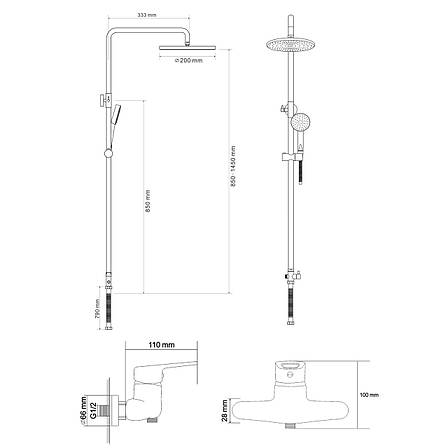 Душевая система Rozzy Jenori RS (4011+RBZ100-5), фото 2