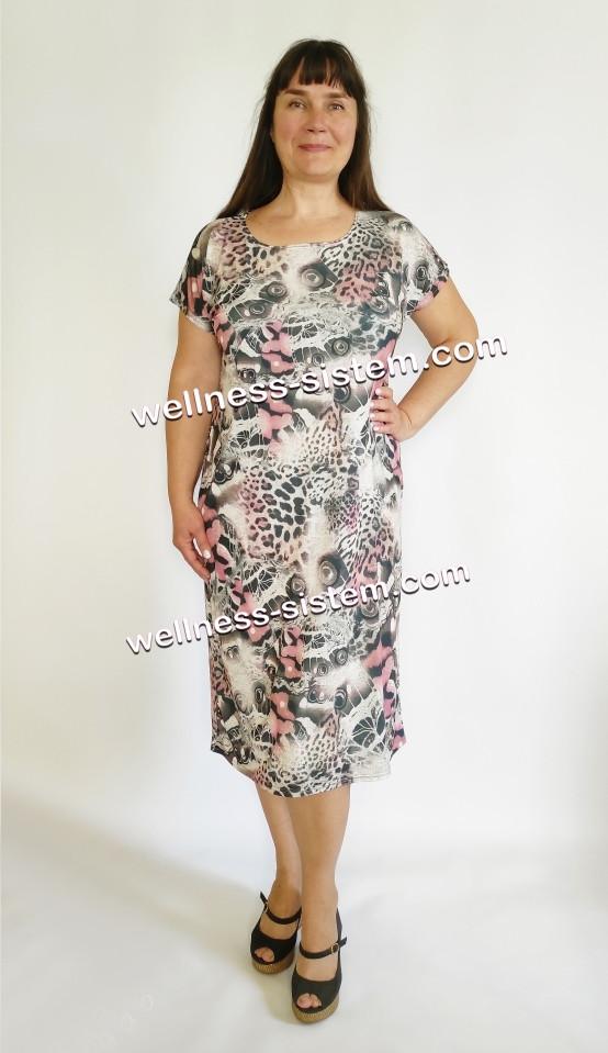 Плаття трикотажне великого розміру  (50-64) сірий з рожевим