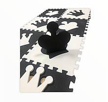 Коврик-пазл EVA , «шах і мат», чорно-білий набір 12 шт. 1,08 м2, 30х30 см, т. 10 мм, 100 кг/м3 TERMOIZOL®