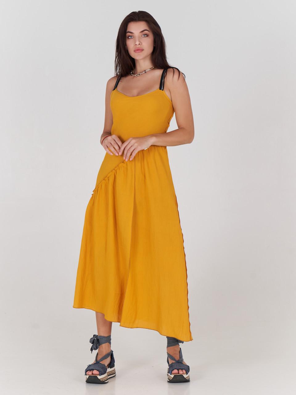 Жіночий сарафан жовтий з льону двосторонній SOLH MKSH2494