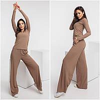 Стильний жіночий брючний трикотажний комфортний костюм: кофточка + широкі штани р. 42-48. Арт-4409/23, фото 1
