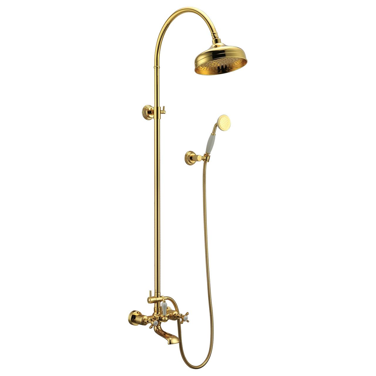 Душевая система (двухвентильный смеситель для ванны, верхний и ручной душ), IMPRESE CUTHNA T-10280